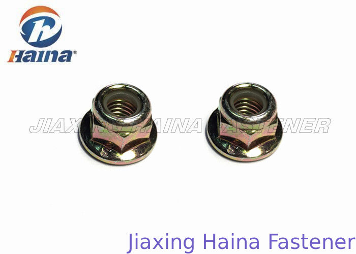 Stock Hex Flange Nylon Insert Lock Nut M16 Carbon Steel Zinc Plated Finish
